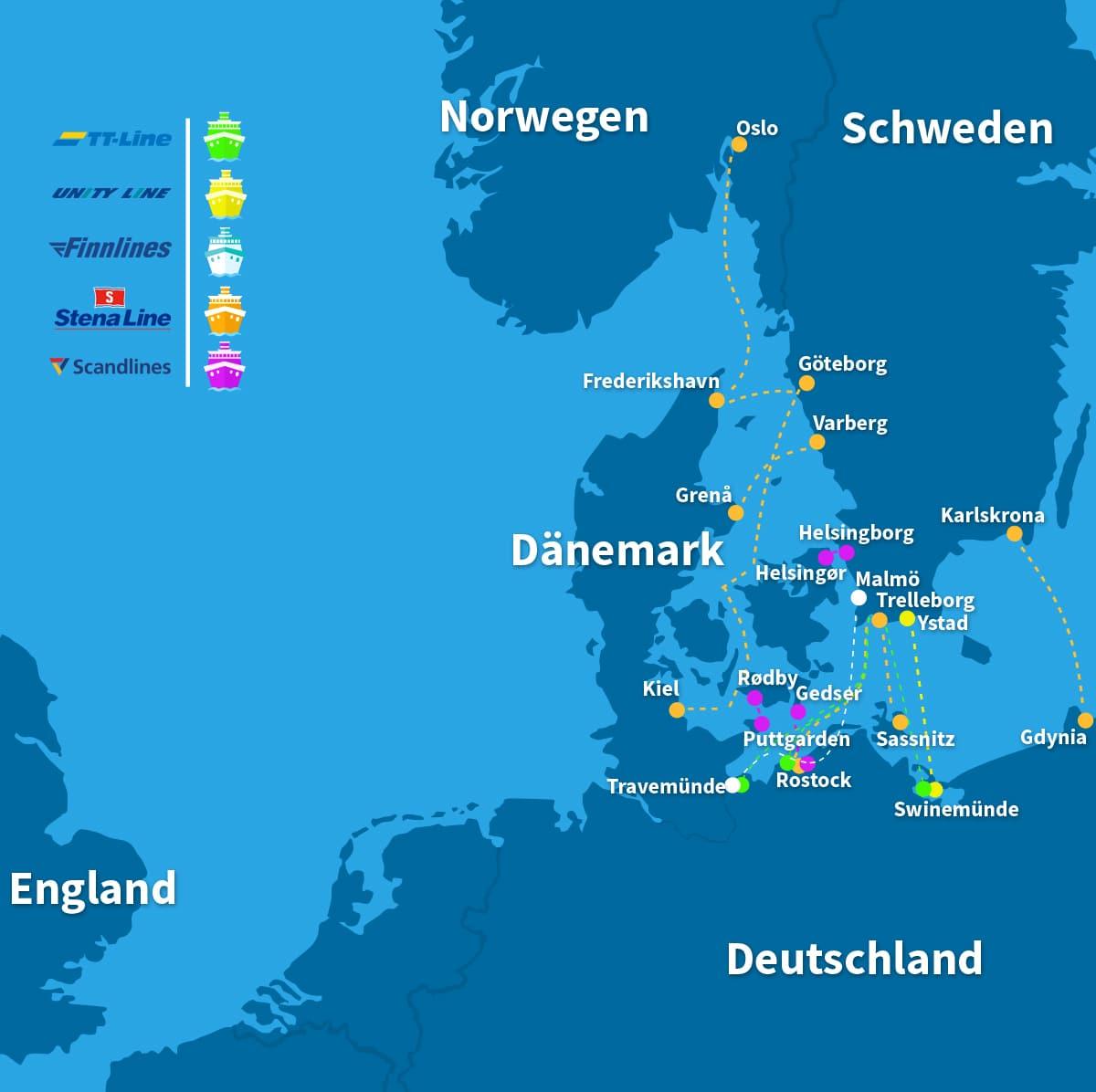 Karte Schweden Dänemark Deutschland.Fähre Nach Schweden Preise Routen Und Buchen