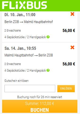 Flixbus von Berlin nach Malmö