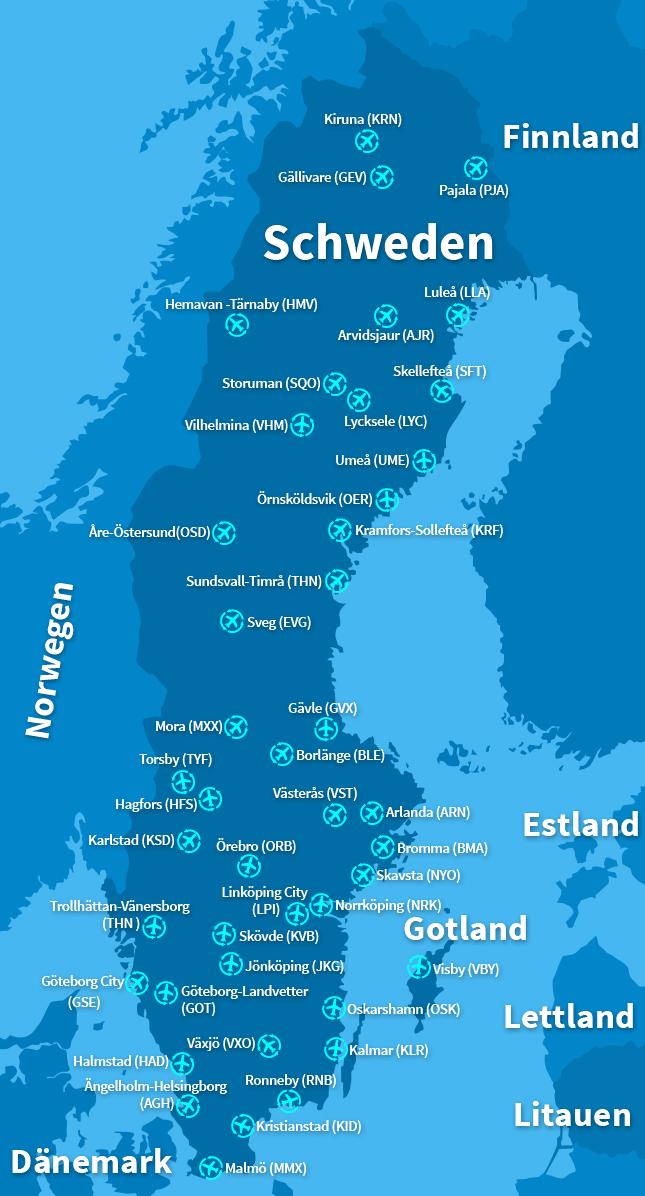 Schweden Flughäfen Karte