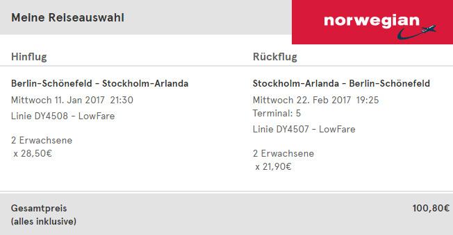 norwegian Flug nach Schweden
